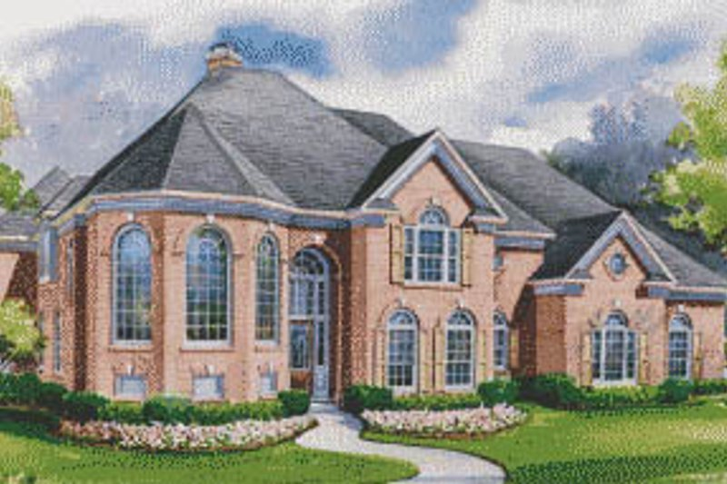 European Exterior - Front Elevation Plan #20-1196 - Houseplans.com
