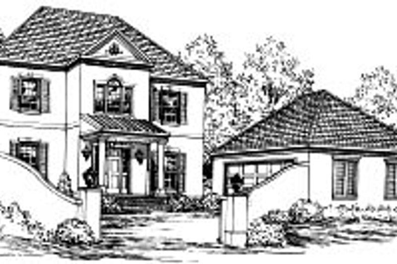European Style House Plan - 4 Beds 2.5 Baths 2473 Sq/Ft Plan #37-212 Exterior - Front Elevation