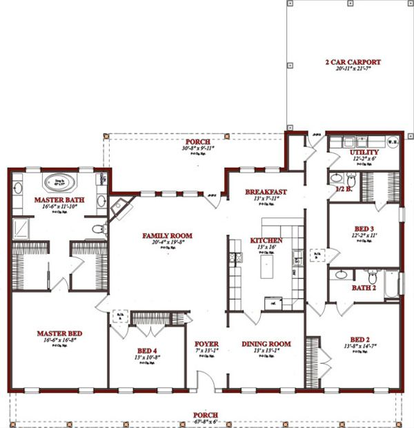 Ranch Floor Plan - Main Floor Plan Plan #63-321