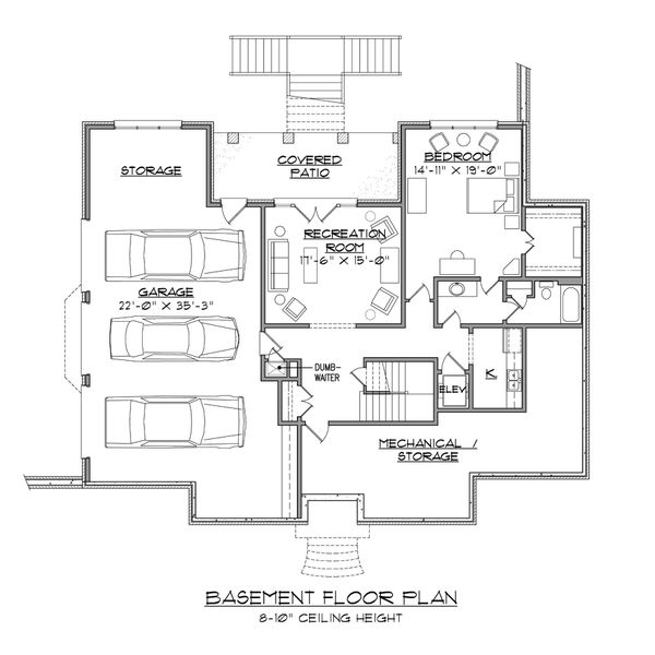 European Floor Plan - Lower Floor Plan Plan #1054-82