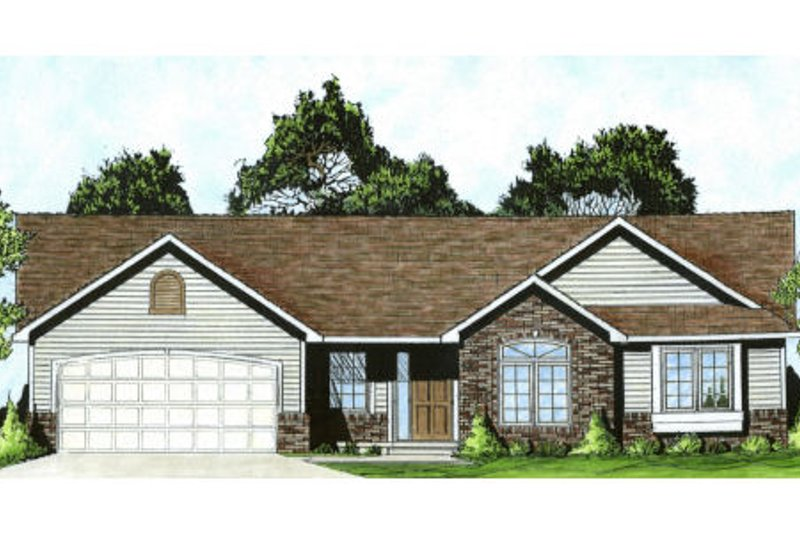 Traditional Style House Plan - 3 Beds 2 Baths 1289 Sq/Ft Plan #58-172 Exterior - Front Elevation