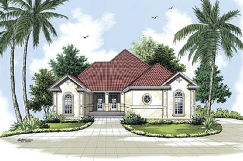 Mediterranean Exterior - Front Elevation Plan #45-141