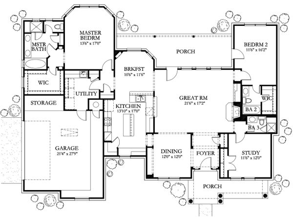 Dream House Plan - Country Floor Plan - Main Floor Plan #80-144