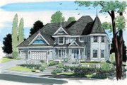 Victorian Style House Plan - 5 Beds 3 Baths 4836 Sq/Ft Plan #312-627 Exterior - Front Elevation
