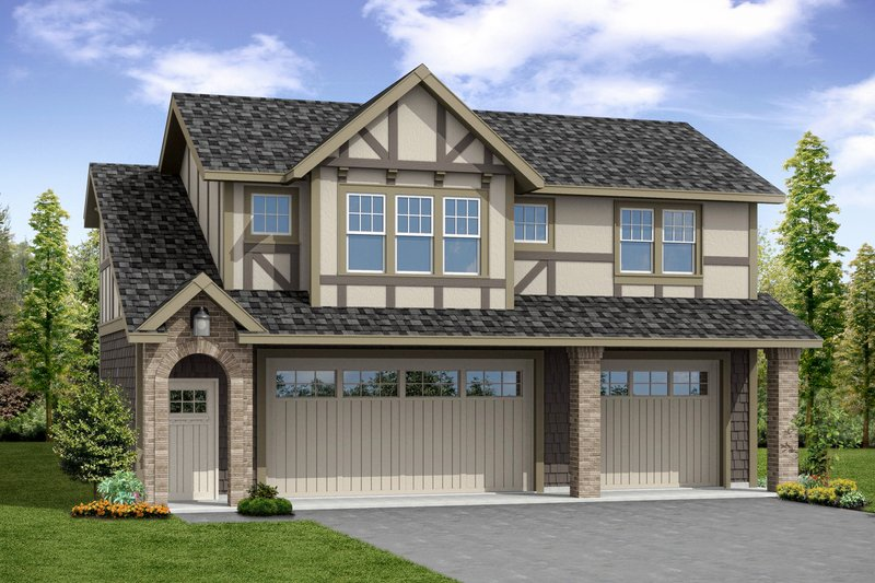 European Style House Plan - 1 Beds 1 Baths 1710 Sq/Ft Plan #124-1037 Exterior - Front Elevation