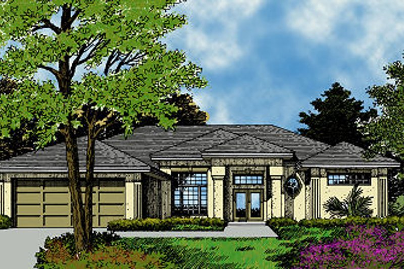 Mediterranean Style House Plan - 4 Beds 3 Baths 2253 Sq/Ft Plan #417-221 Exterior - Front Elevation