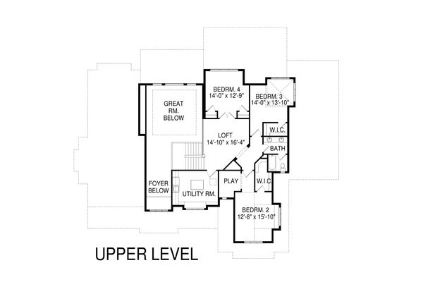 Craftsman Floor Plan - Upper Floor Plan Plan #920-34