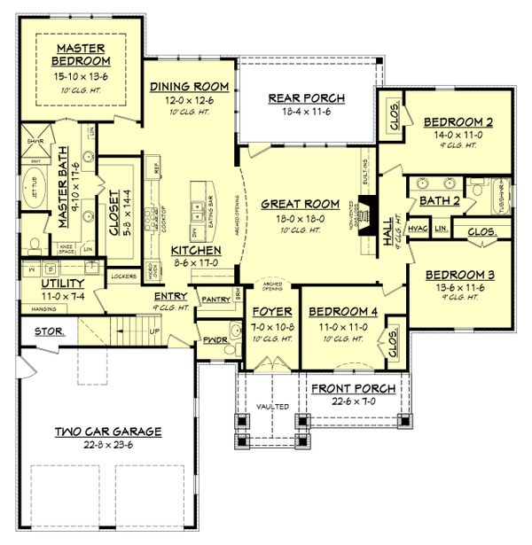 Country Floor Plan - Main Floor Plan Plan #430-151
