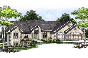 Mediterranean Exterior - Front Elevation Plan #70-414