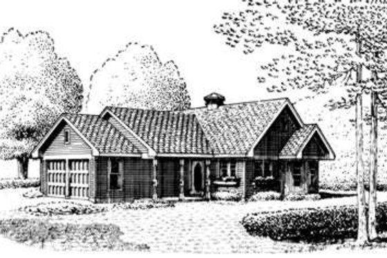 Cottage Exterior - Front Elevation Plan #410-164
