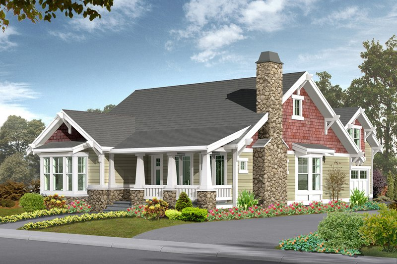 Craftsman Style House Plan - 5 Beds 3 Baths 2570 Sq/Ft Plan #132-113 Exterior - Front Elevation
