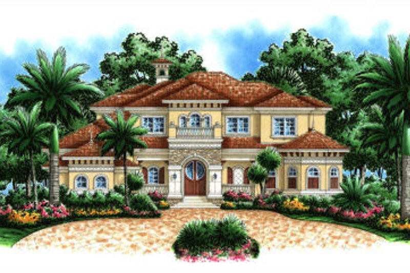 Mediterranean Style House Plan - 5 Beds 5.5 Baths 6197 Sq/Ft Plan #27-392 Exterior - Front Elevation