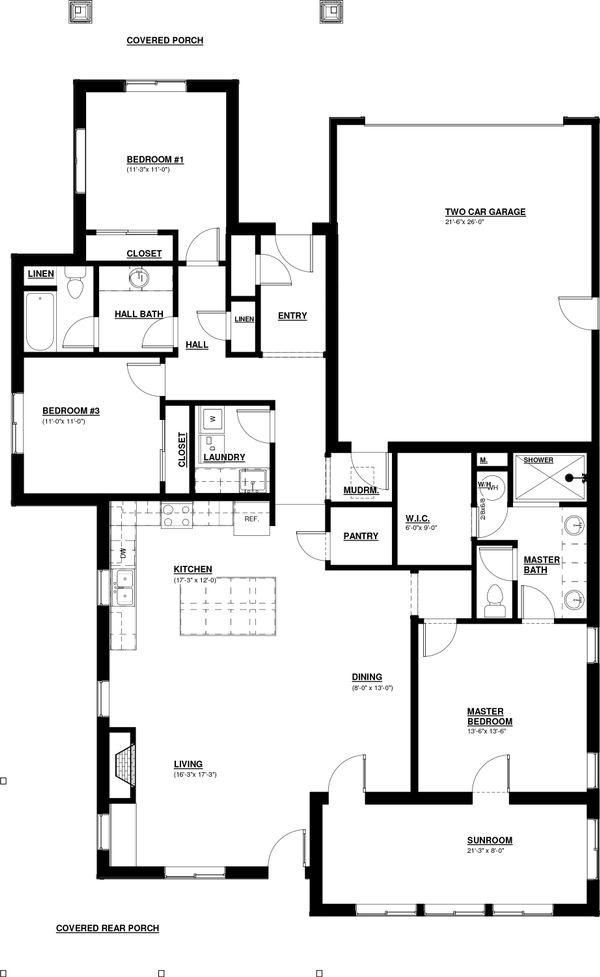 Craftsman Floor Plan - Main Floor Plan Plan #895-98