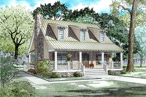 Country Exterior - Front Elevation Plan #17-2014