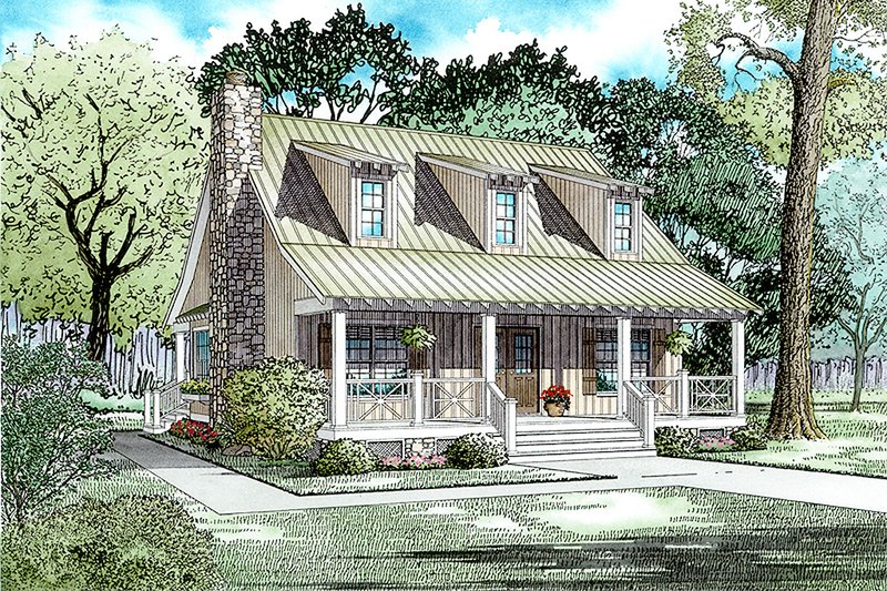 Country Style House Plan - 3 Beds 2 Baths 1544 Sq/Ft Plan #17-2014 Exterior - Front Elevation