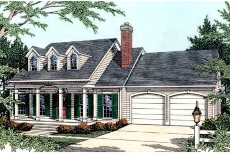 Farmhouse Style House Plan - 3 Beds 2 Baths 1551 Sq/Ft Plan #406-236 Exterior - Front Elevation