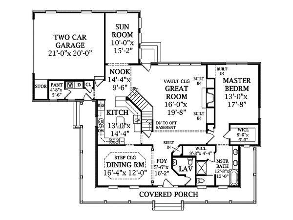 Southern Floor Plan - Main Floor Plan Plan #456-14