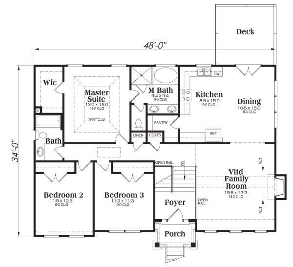 Home Plan - Traditional Floor Plan - Main Floor Plan #419-103