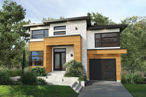 Dream House Plan - Contemporary Exterior - Front Elevation Plan #25-4876