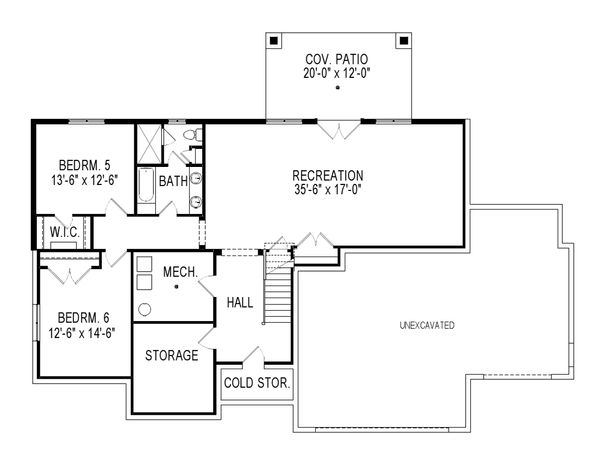 Craftsman Floor Plan - Lower Floor Plan Plan #920-7