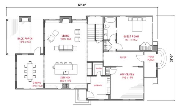 Tudor Floor Plan - Main Floor Plan #1079-3