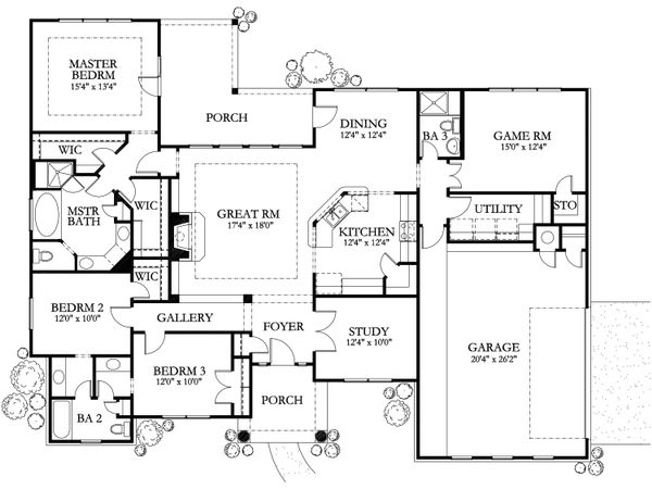 European Floor Plan - Main Floor Plan Plan #80-149