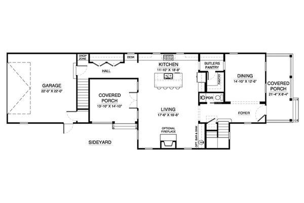 Southern Floor Plan - Main Floor Plan Plan #900-3