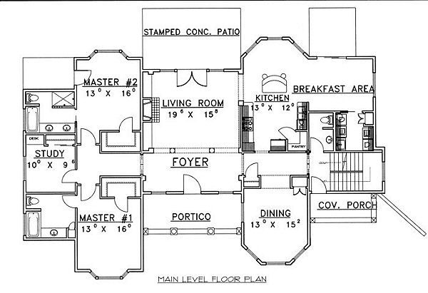 European Floor Plan - Main Floor Plan Plan #117-537