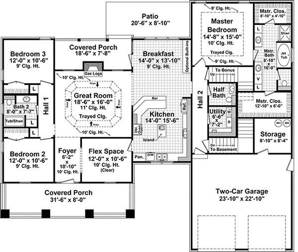 Craftsman style Plan 21-275 main floor