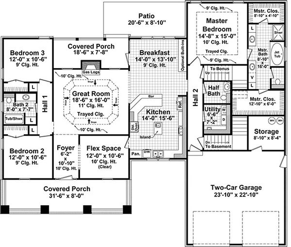 Craftsman Style House Plan - 3 Beds 2.5 Baths 2108 Sq/Ft Plan #21-275 Floor Plan - Main Floor Plan