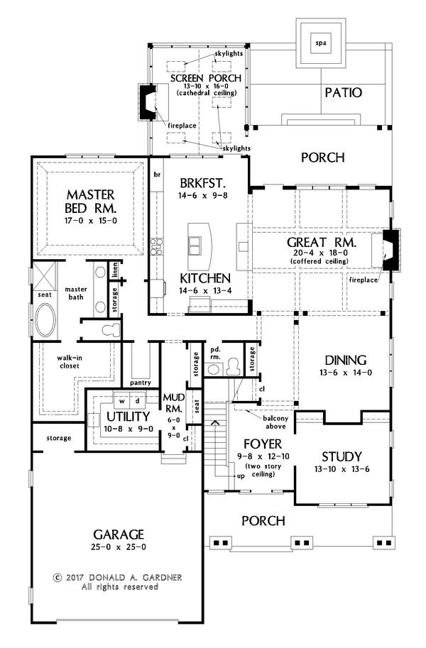 Farmhouse Floor Plan - Main Floor Plan Plan #929-1052