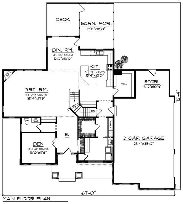 Craftsman Floor Plan - Main Floor Plan Plan #70-1432