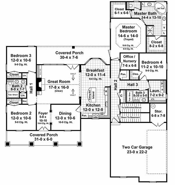 Country Floor Plan - Main Floor Plan Plan #21-287