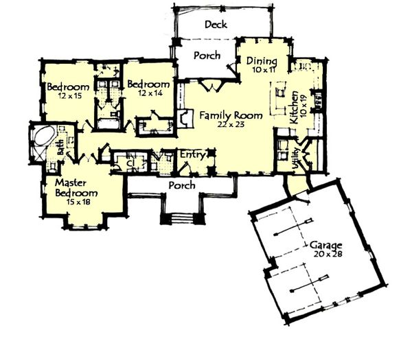 Craftsman Floor Plan - Main Floor Plan Plan #921-27