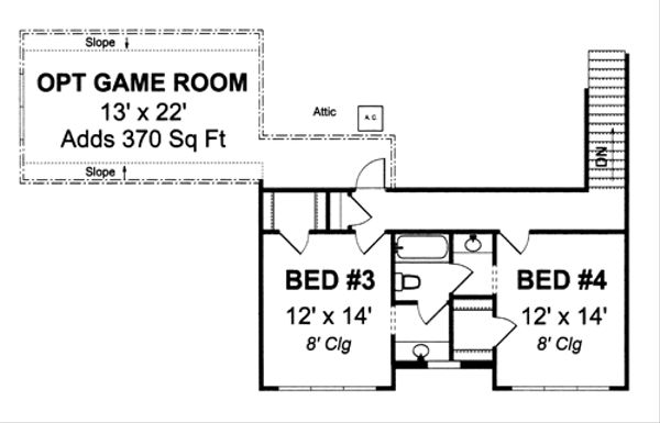 Farmhouse Floor Plan - Upper Floor Plan Plan #513-2050