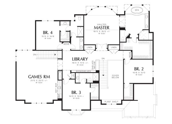 Traditional Floor Plan - Upper Floor Plan Plan #48-621
