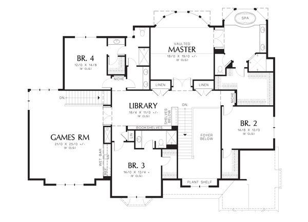 Traditional Floor Plan - Upper Floor Plan Plan #48-621