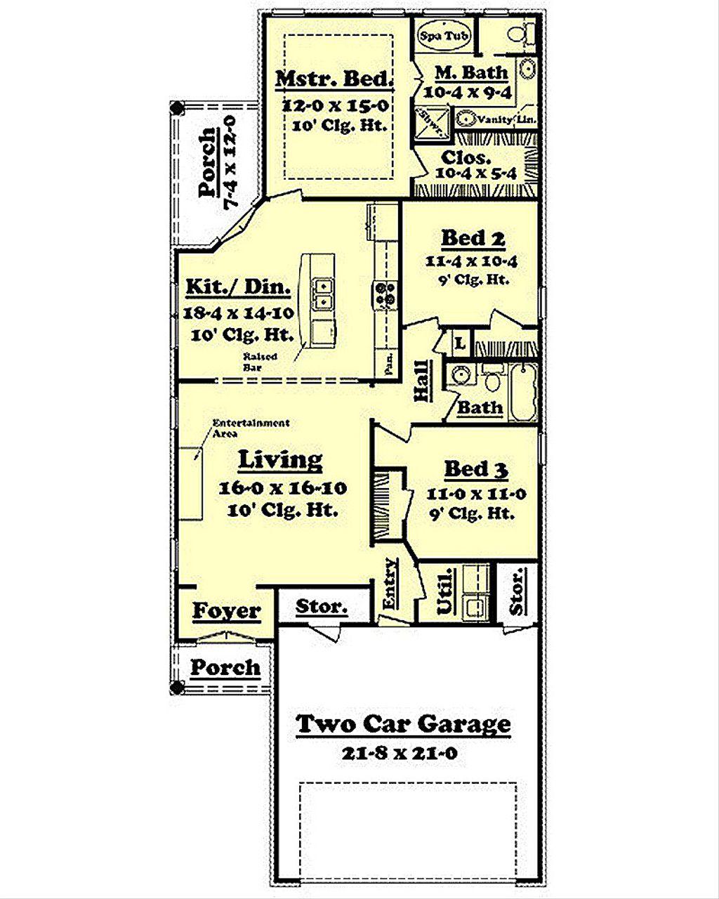 European Style House Plan 3 Beds 2 Baths 1400 Sq Ft Plan
