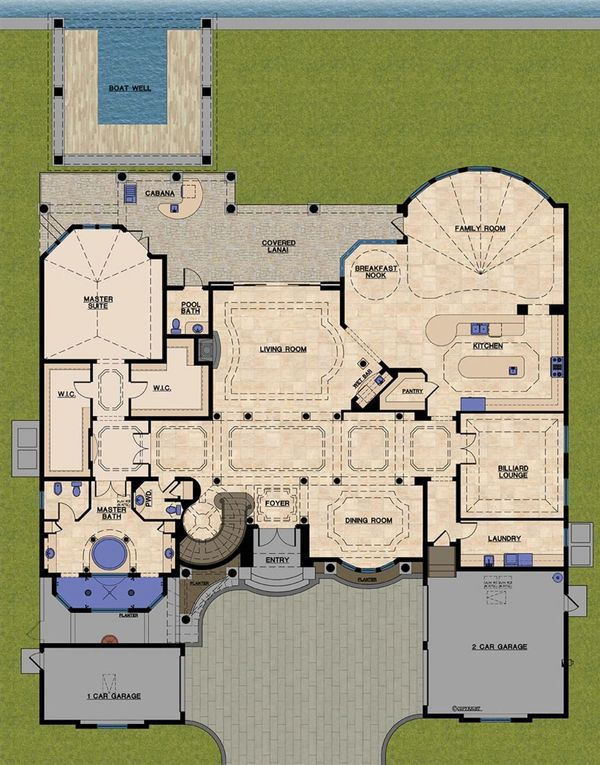 Mediterranean Floor Plan - Main Floor Plan Plan #548-11