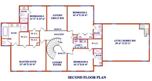 Architectural House Design - Colonial Floor Plan - Upper Floor Plan #3-345
