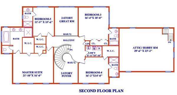 Architectural House Design - Colonial Floor Plan - Upper Floor Plan #3-345
