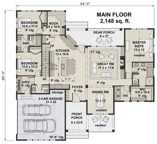 Farmhouse Floor Plan - Main Floor Plan Plan #51-1142