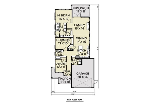 Craftsman Floor Plan - Main Floor Plan Plan #1070-89