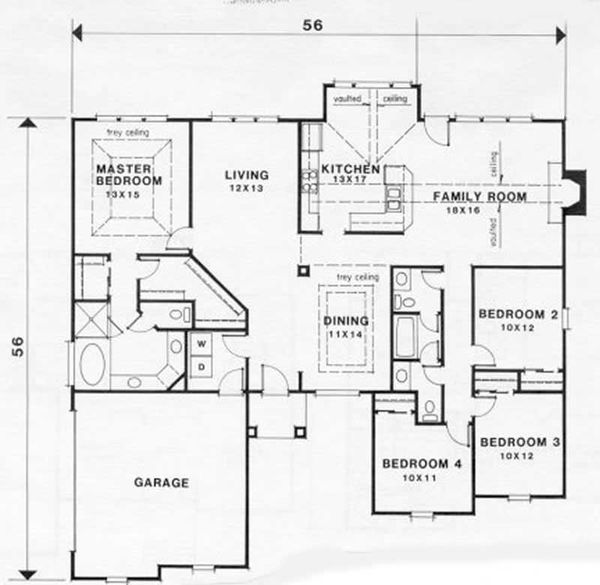 European Floor Plan - Main Floor Plan Plan #129-129