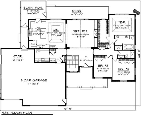 Ranch Floor Plan - Main Floor Plan Plan #70-1103