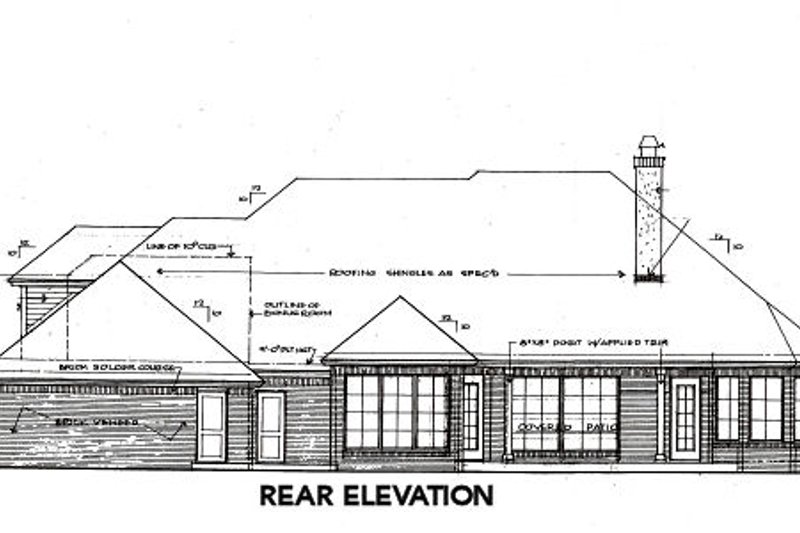 European Exterior - Rear Elevation Plan #310-648 - Houseplans.com
