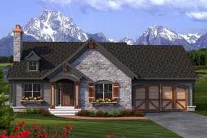 Home Plan - Ranch Exterior - Front Elevation Plan #70-1189