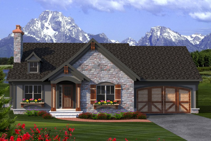 Dream House Plan - Ranch Exterior - Front Elevation Plan #70-1189