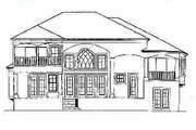 Mediterranean Style House Plan - 4 Beds 4 Baths 3580 Sq/Ft Plan #27-211 Exterior - Rear Elevation