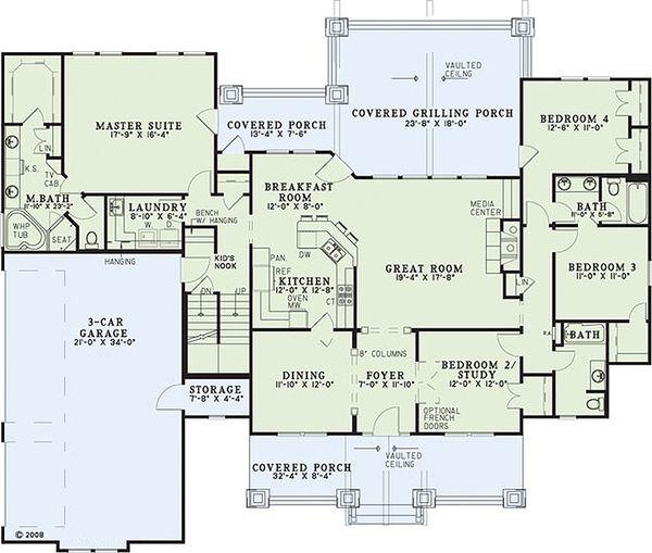 Craftsman Floor Plan - Main Floor Plan #17-2376
